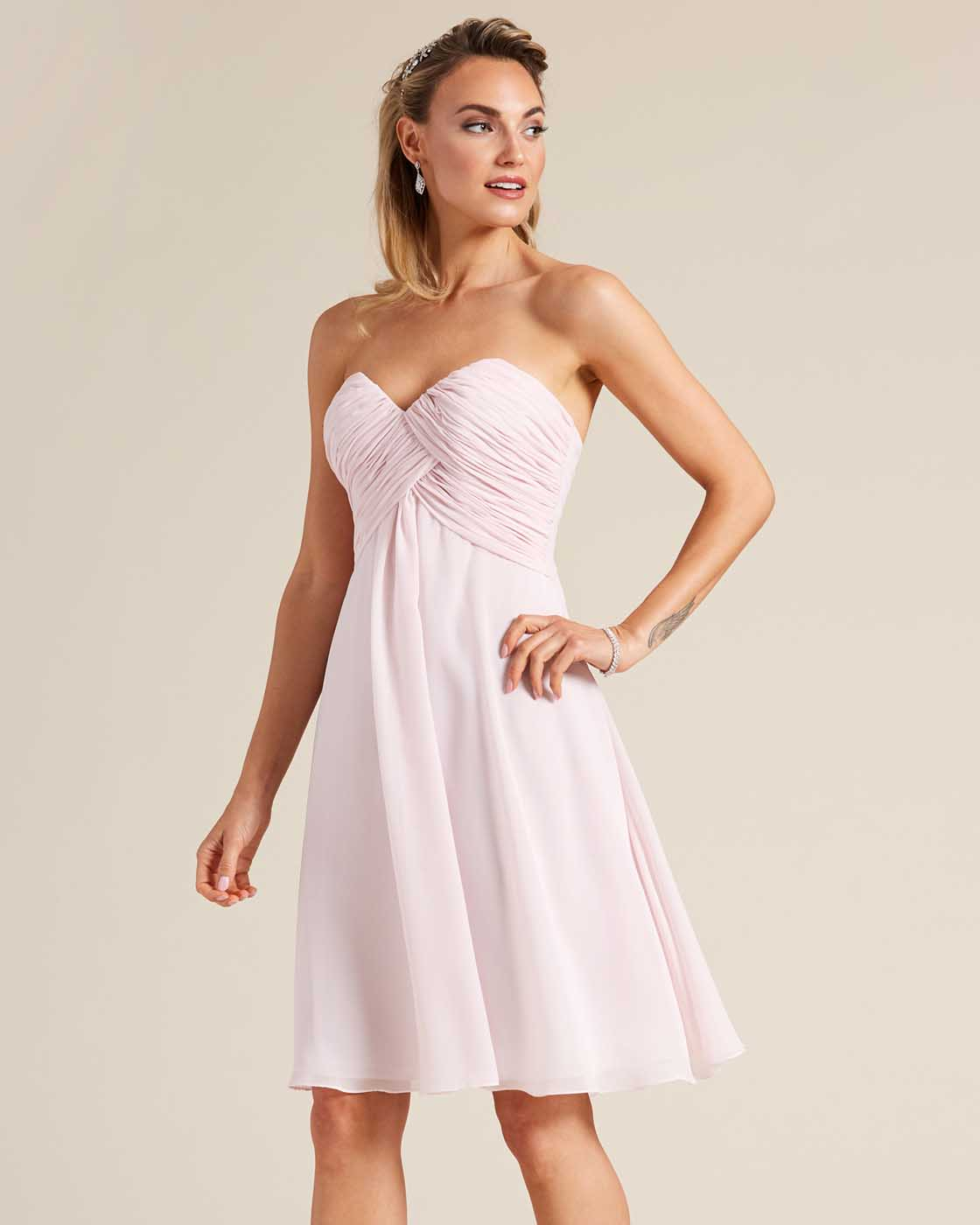 Pink Strapless Short Skirt Dress - Detail