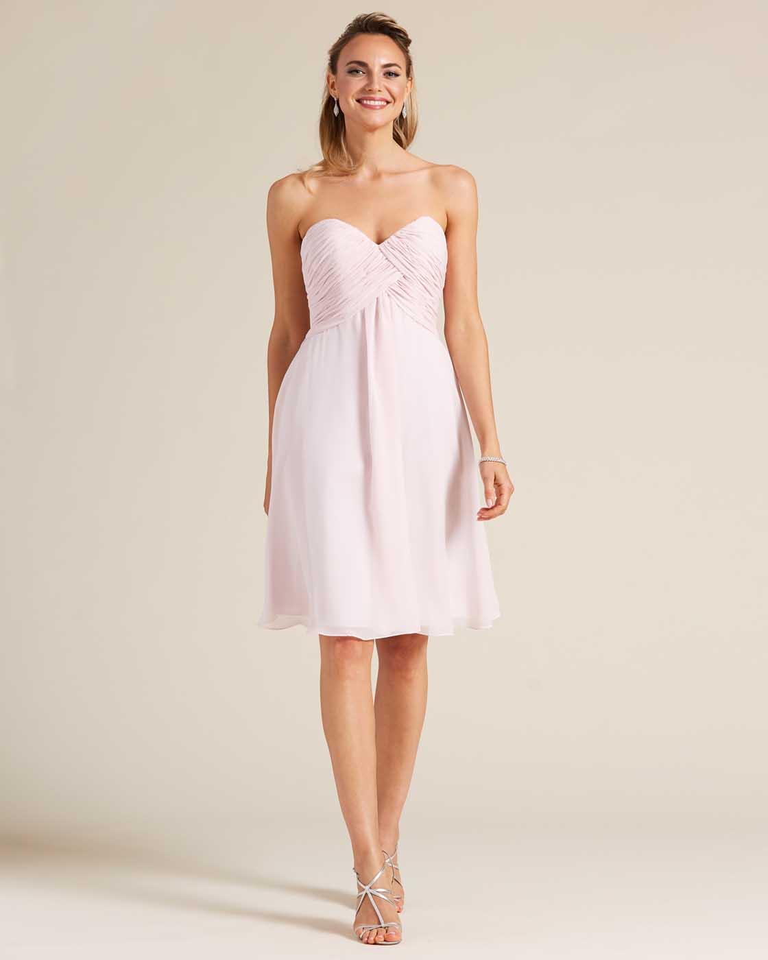 Pink Strapless Short Skirt Dress - Front