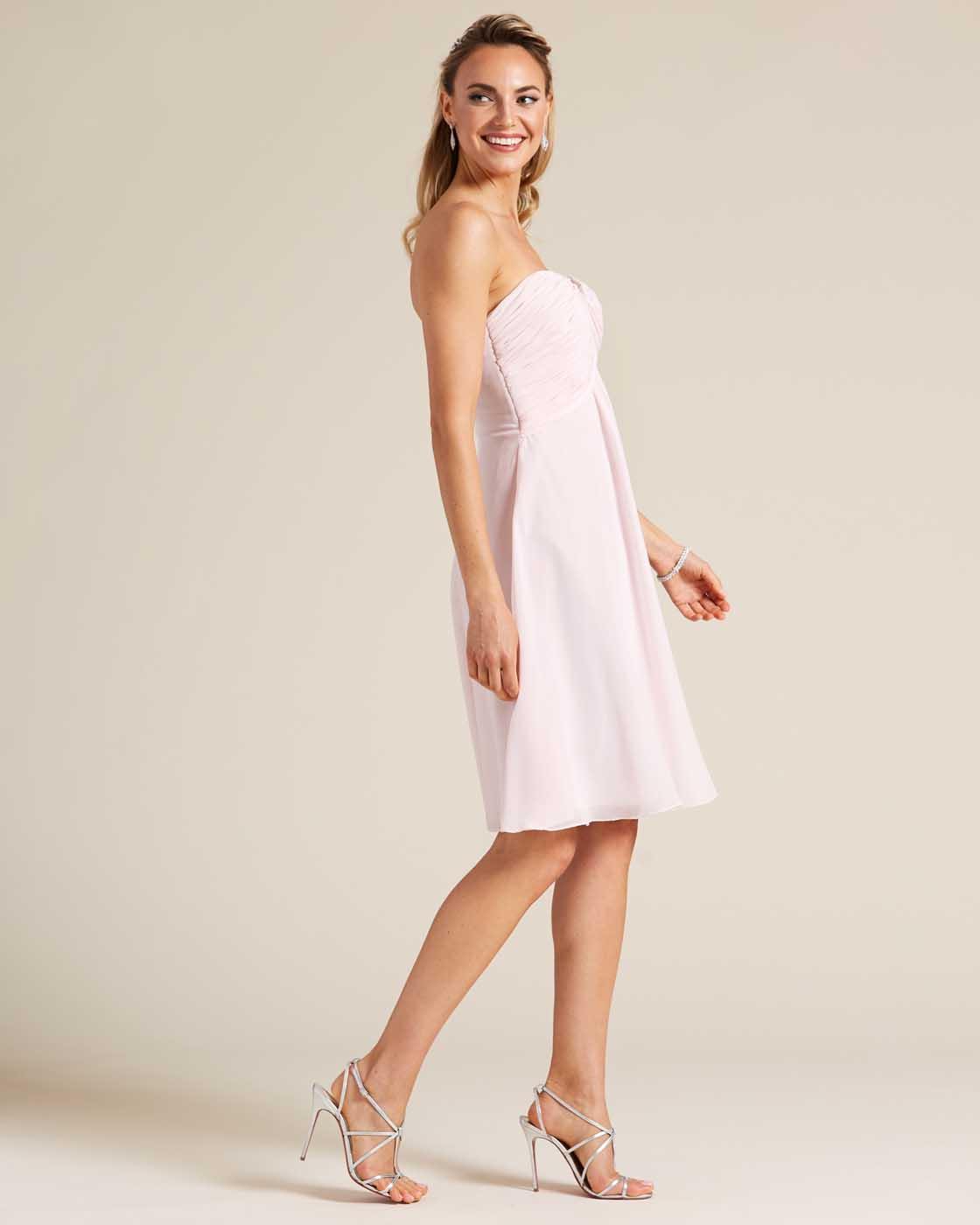 Pink Strapless Short Skirt Dress - Side