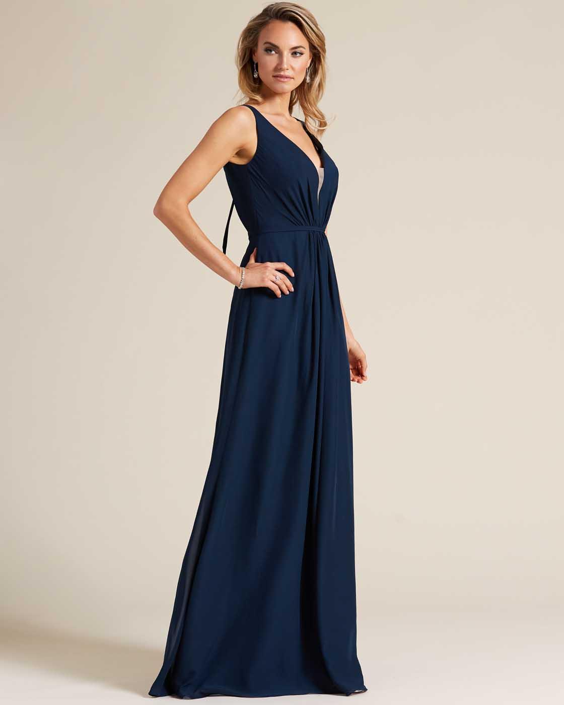 Blue Plunging V Neck Cut Out Dress - Side