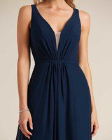 Blue Plunging V Neck Cut Out Dress - Detail