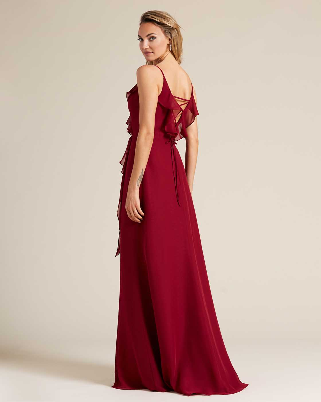 Ruby Red Criss Cross Back Ruffled Gown - Side