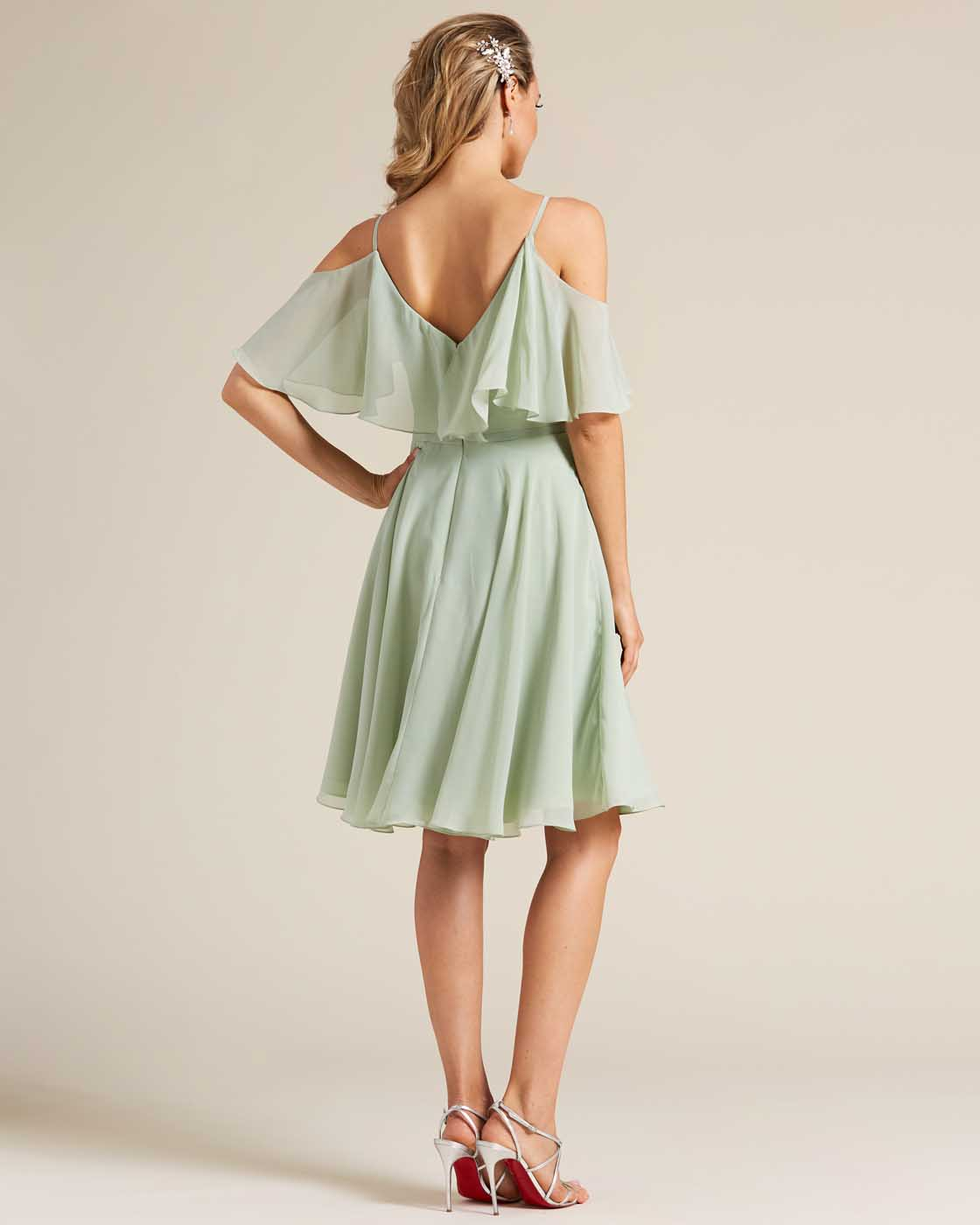 Green Flounce Top Short Dress - Back