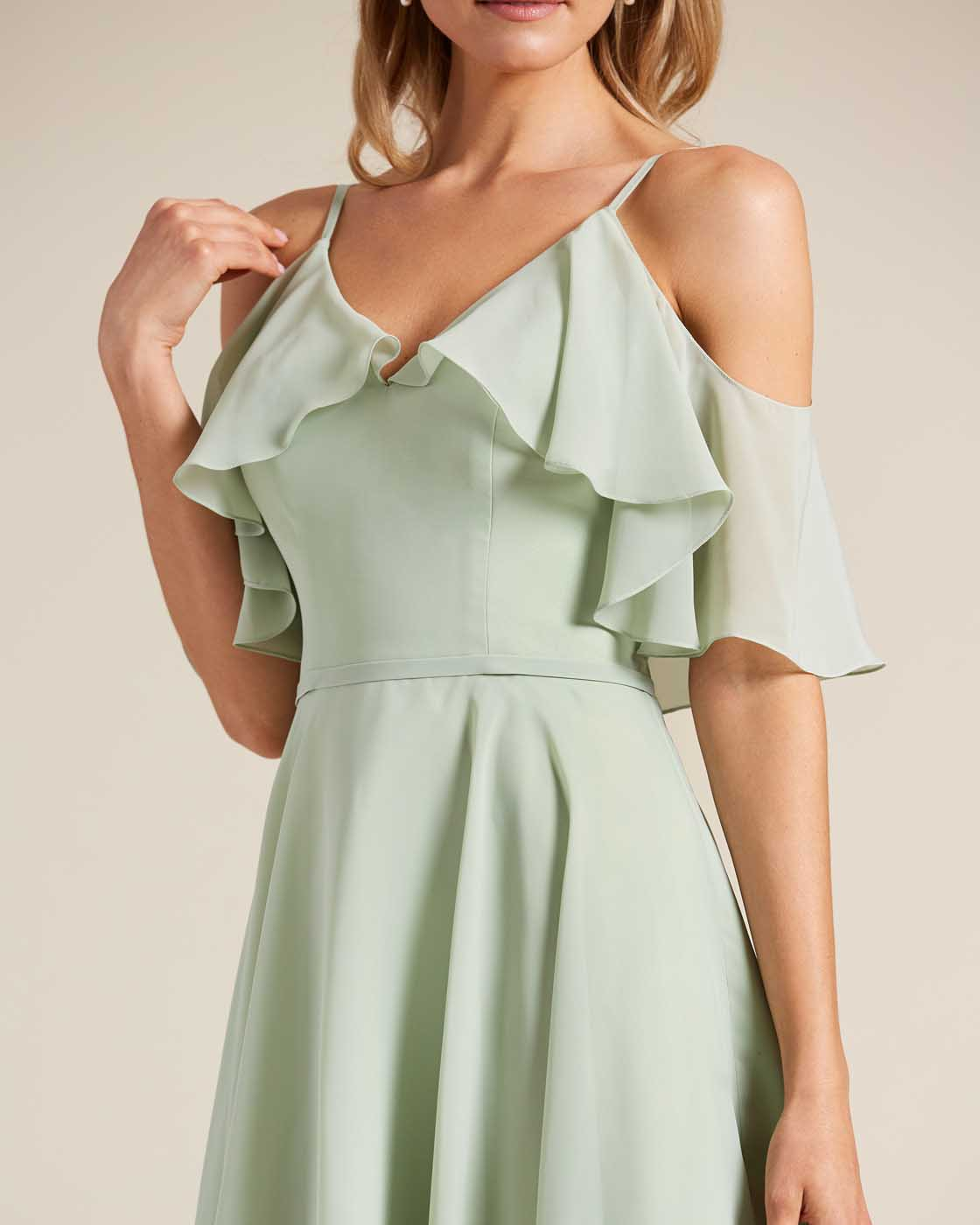 Green Flounce Top Short Dress - Detail