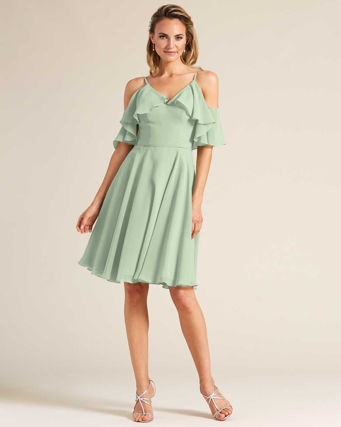 Green Flounce Top Short Dress - Front