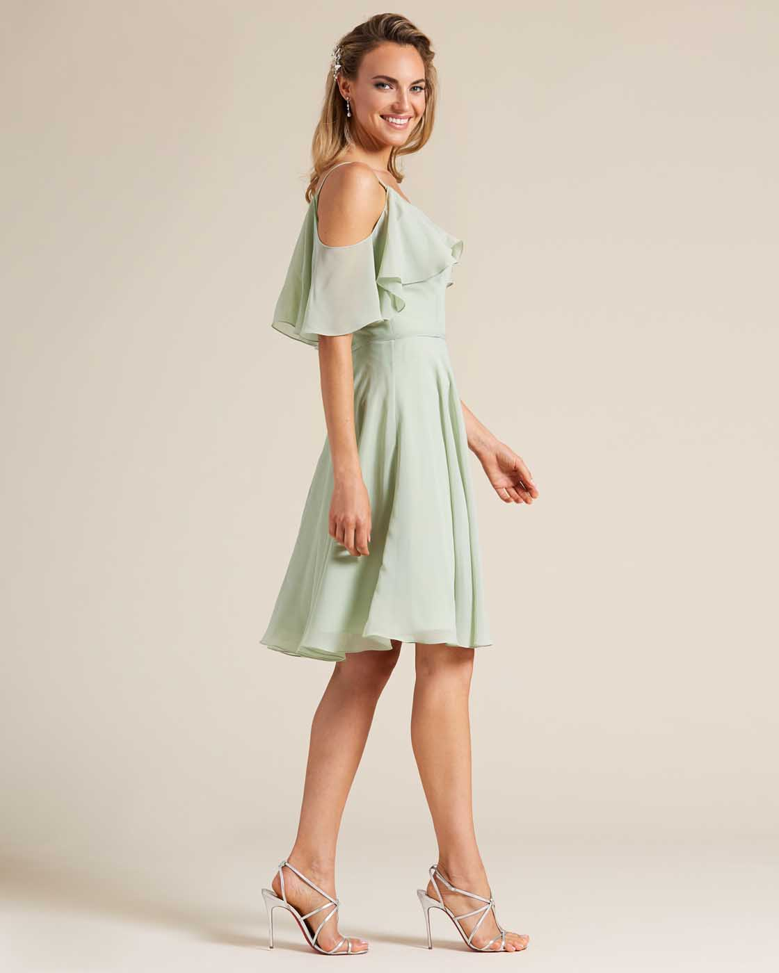 Green Flounce Top Short Dress - Side