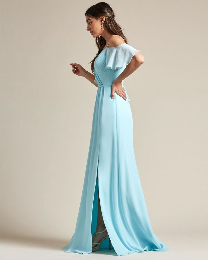 Thin Strap Cold Shoulder Design With Floundering Sleeves Bridesmaid Gown - Side