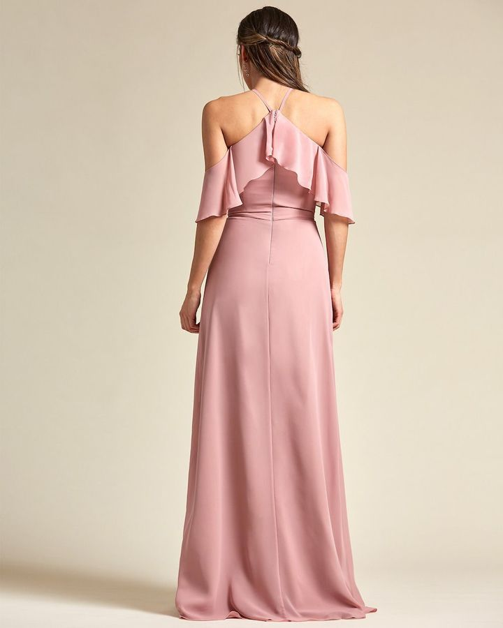 Racerback Thin Strap Layered Top Bridesmaid Gown - Back
