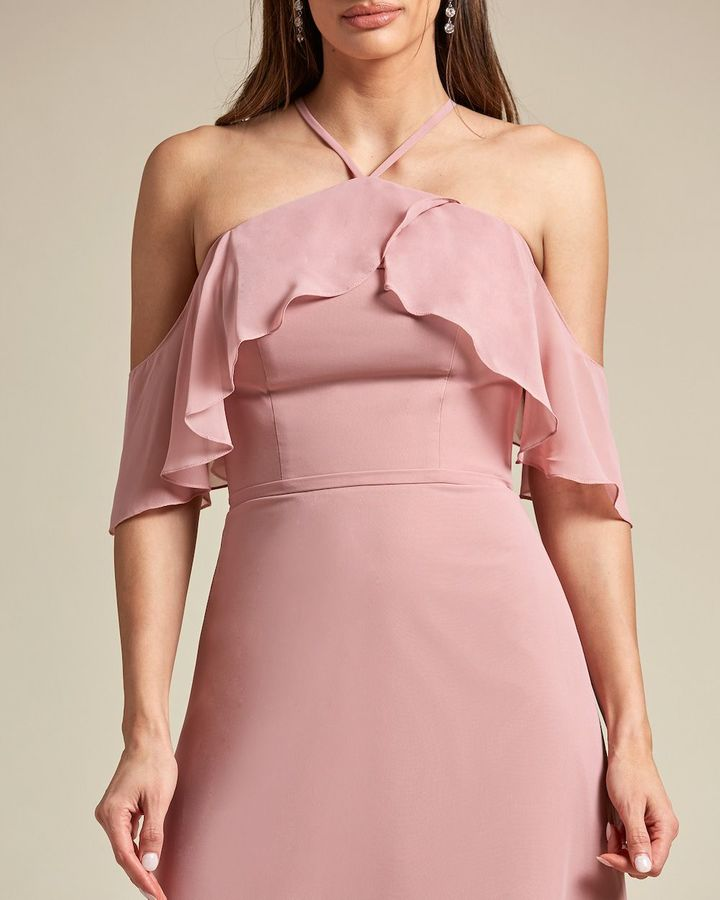 Racerback Thin Strap Layered Top Bridesmaid Gown - Detail