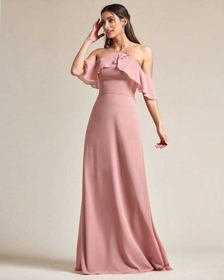 Racerback Thin Strap Layered Top Bridesmaid Gown - Front
