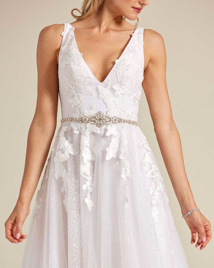 White Butterfly Embroidered Sleeveless Wedding Dress - Detail