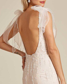 Vintage Style Champagne Sleeveless Wedding Gown - Detail Back