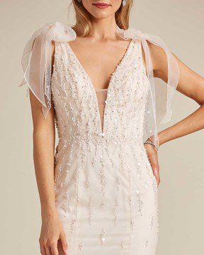 Vintage Style Champagne Sleeveless Wedding Gown - Detail