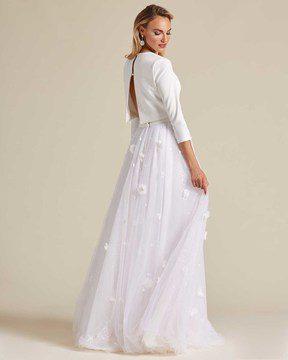 Minimal Style White Two Piece Wedding Dress - Back