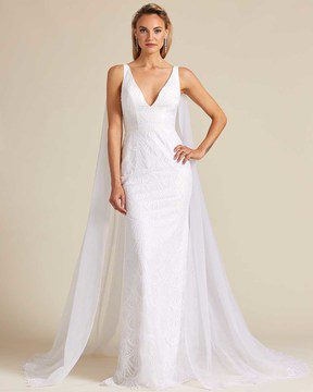 Ivory White Long Veil Wedding Gown - Front