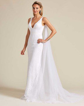 Ivory White Long Veil Wedding Gown - Side
