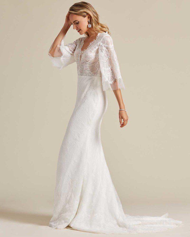 White Bell Sleeves Fishtail Wedding Dress - Side