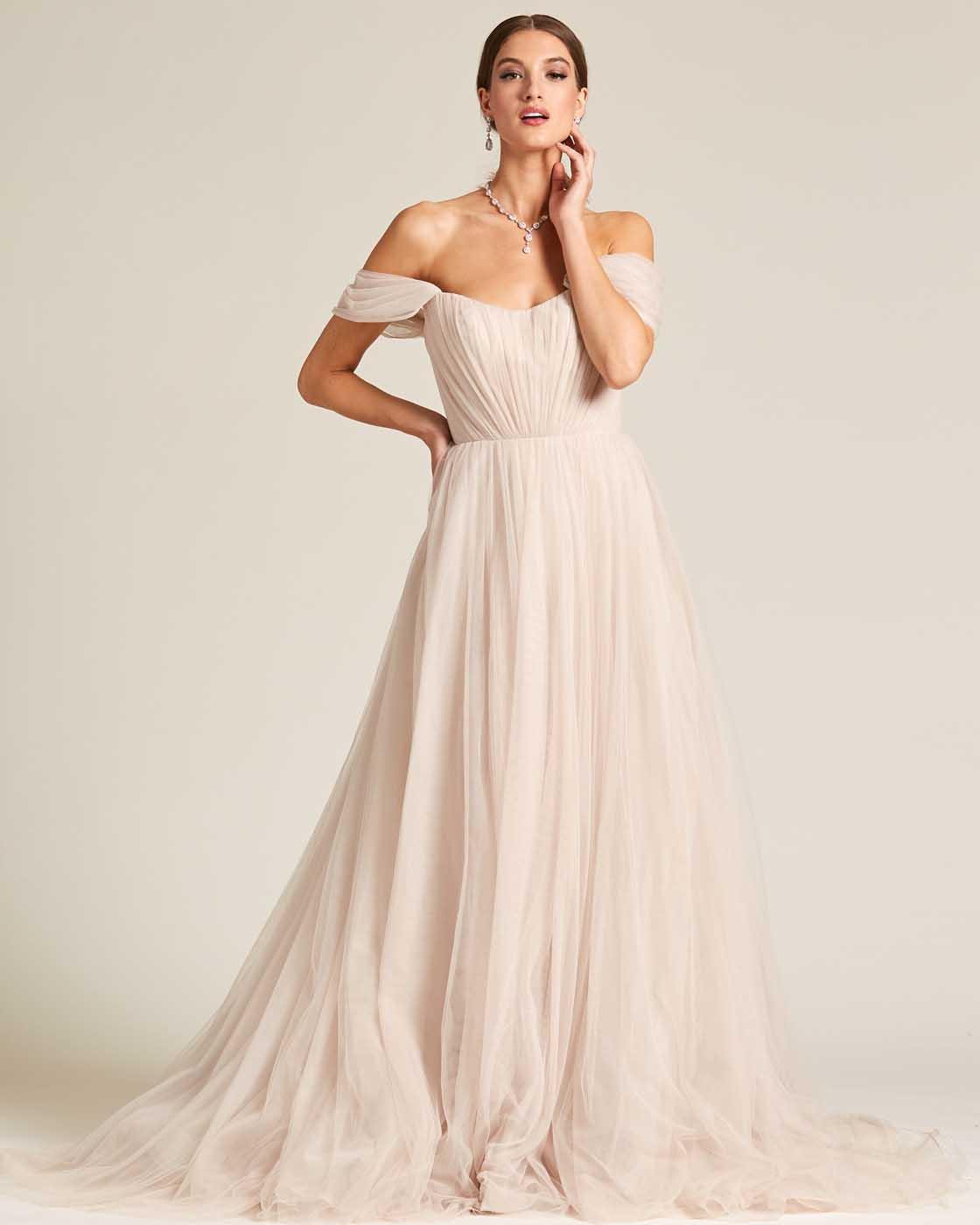Beige Off Shoulder Ruched Formal Gown - Detail Front