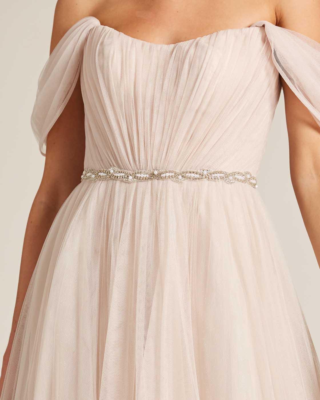Beige Off Shoulder Ruched Formal Gown - Detail