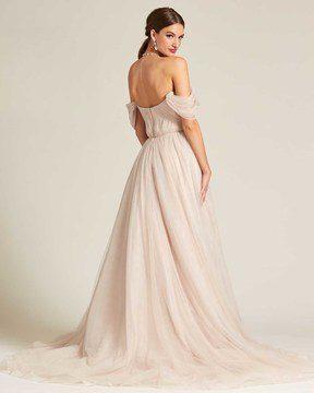 Beige Off Shoulder Ruched Formal Gown - Back