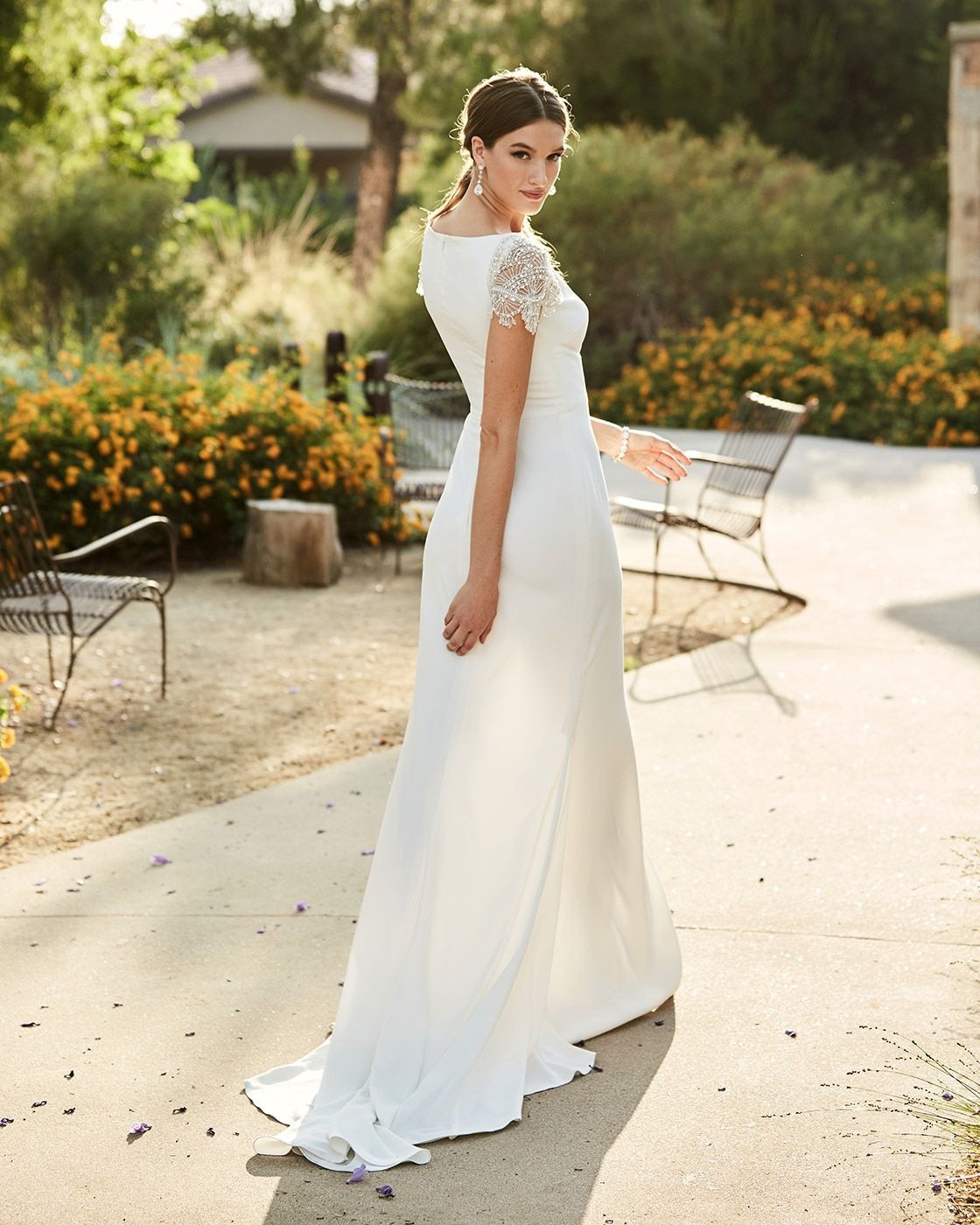 White Embroidered Cap Sleeve Wedding Dress - Editorial