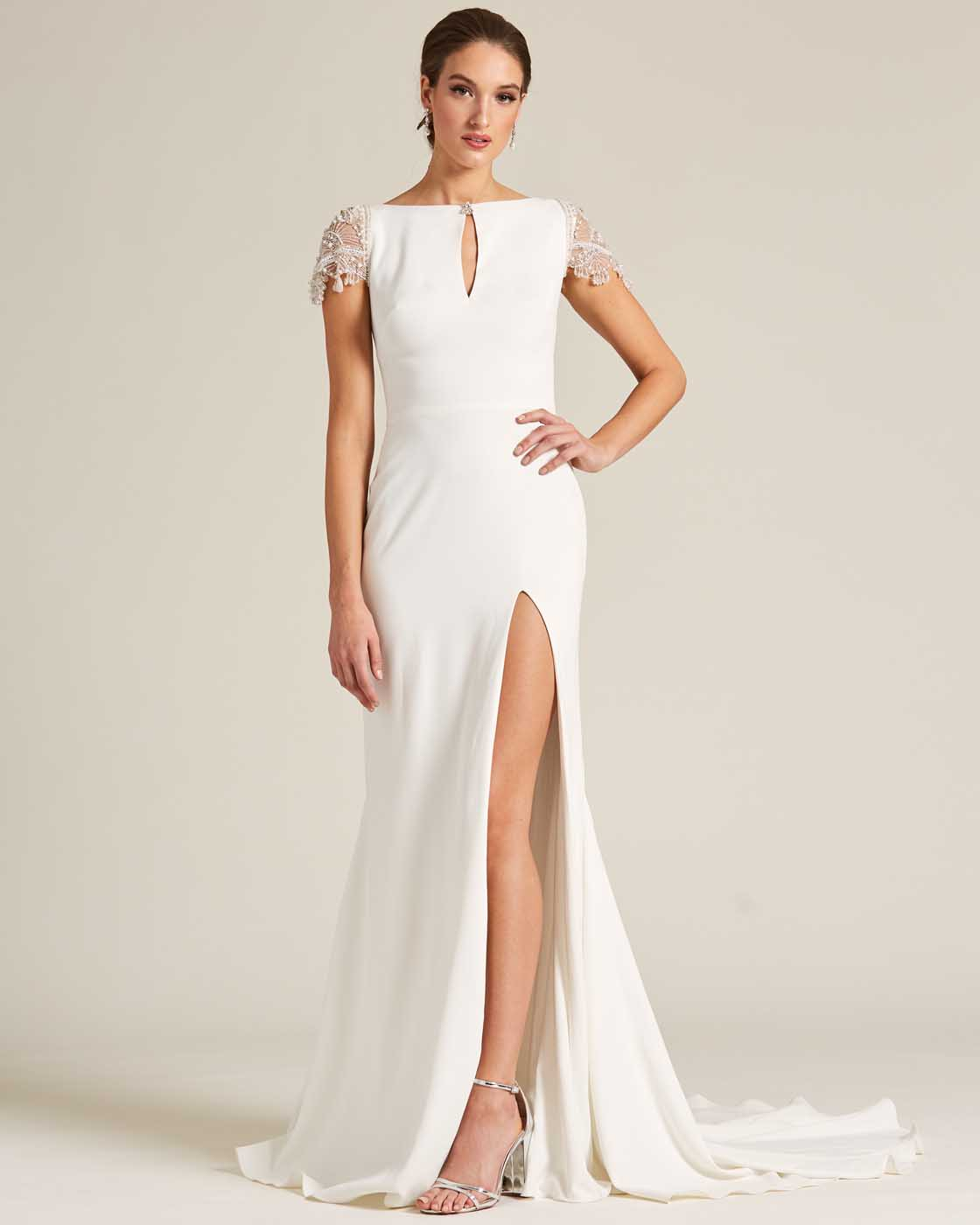White Embroidered Cap Sleeve Wedding Dress - Front