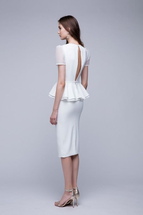 White Two-Piece Wedding Dress - Side
