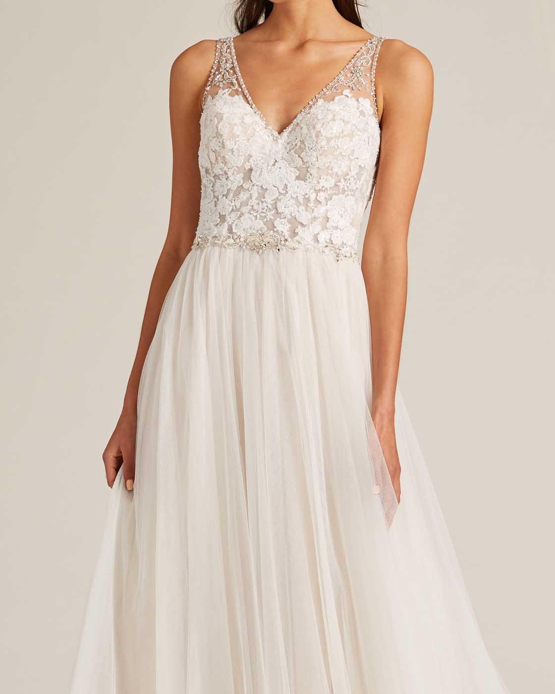 Blush Embroidered Top Wedding Dress - Detail