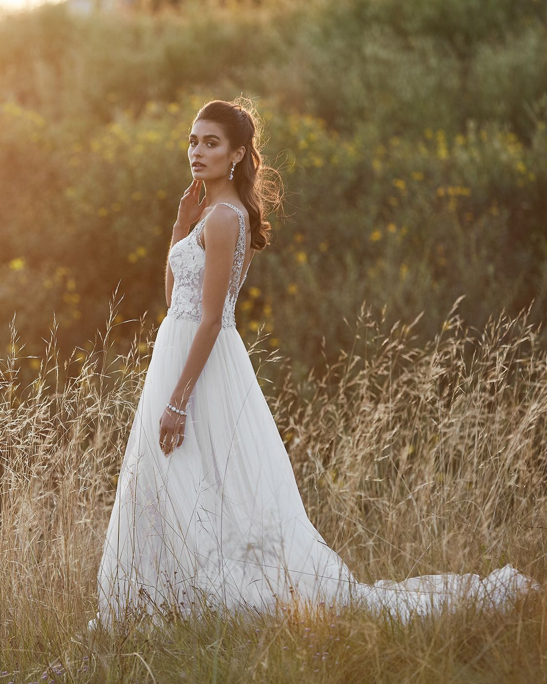 Blush Embroidered Top Wedding Dress - Editorial