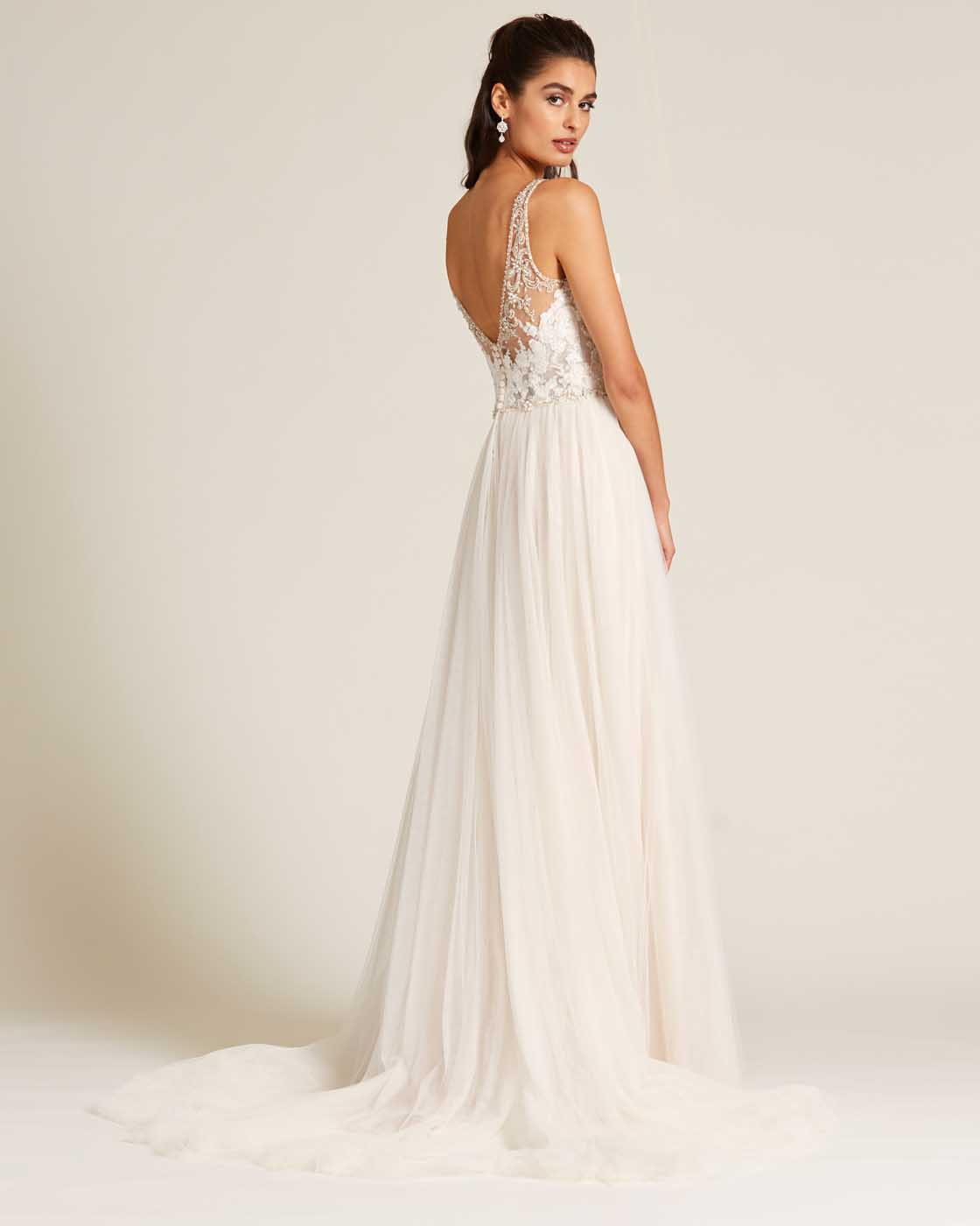 Blush Embroidered Top Wedding Dress - Side