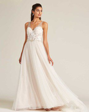 Blush Embroidered Top Wedding Dress - Front