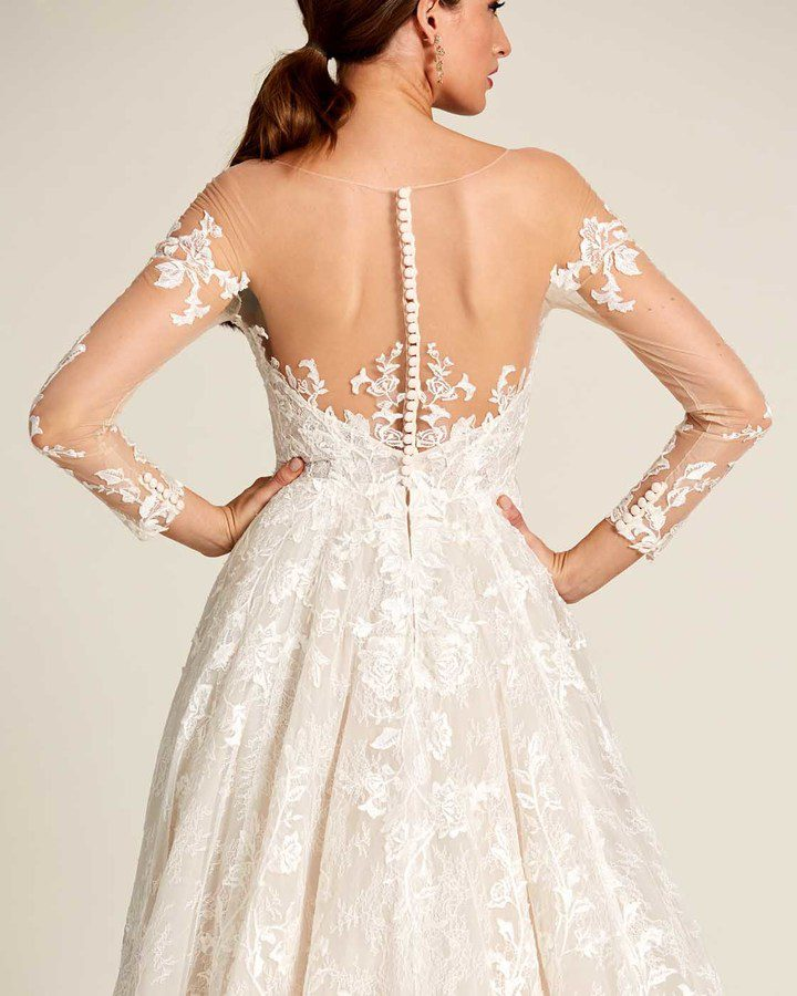 White Illusion Neckline Embroidered Sleeves Wedding Dress - Detail Back