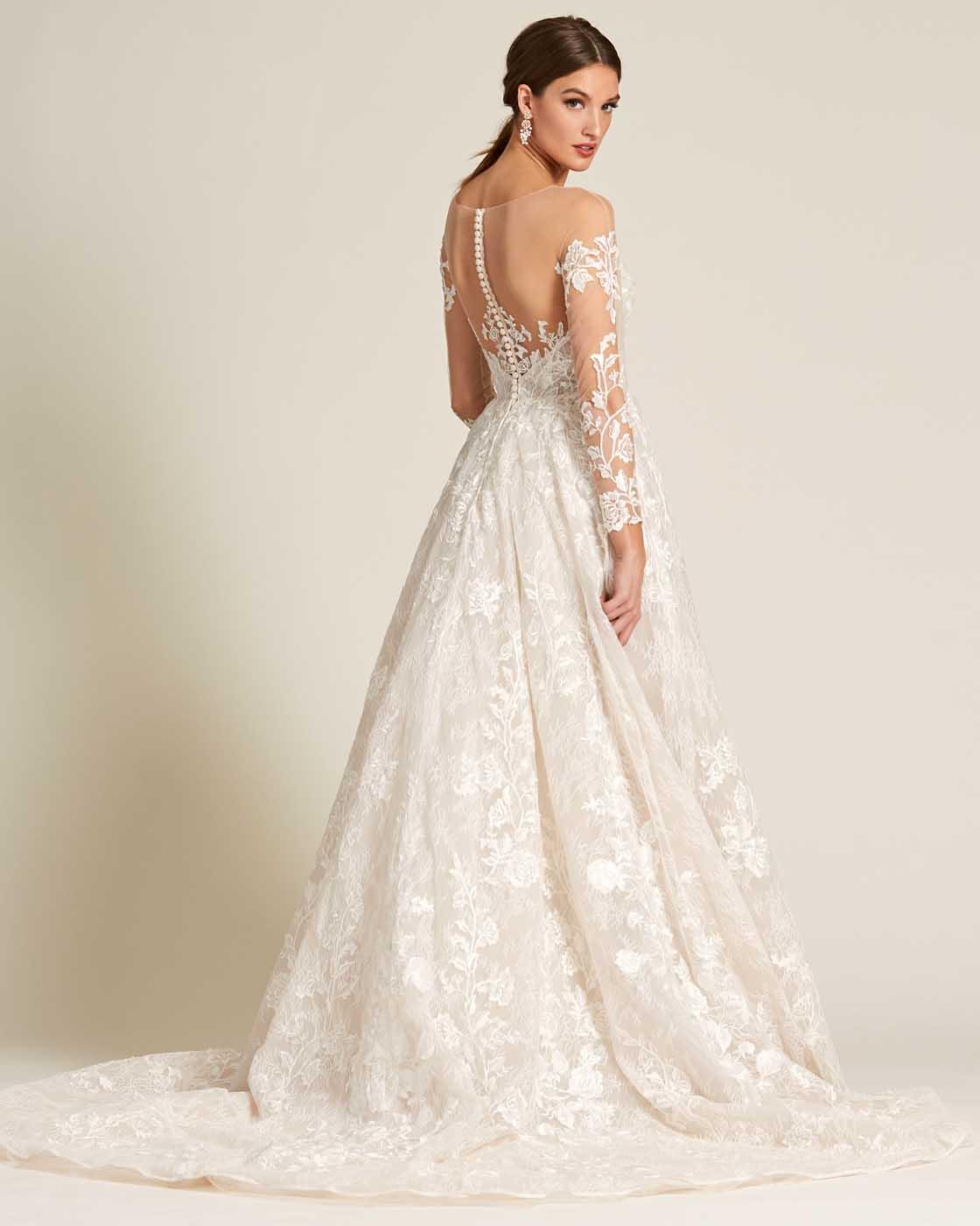 White Illusion Neckline Embroidered Sleeves Wedding Dress - Back