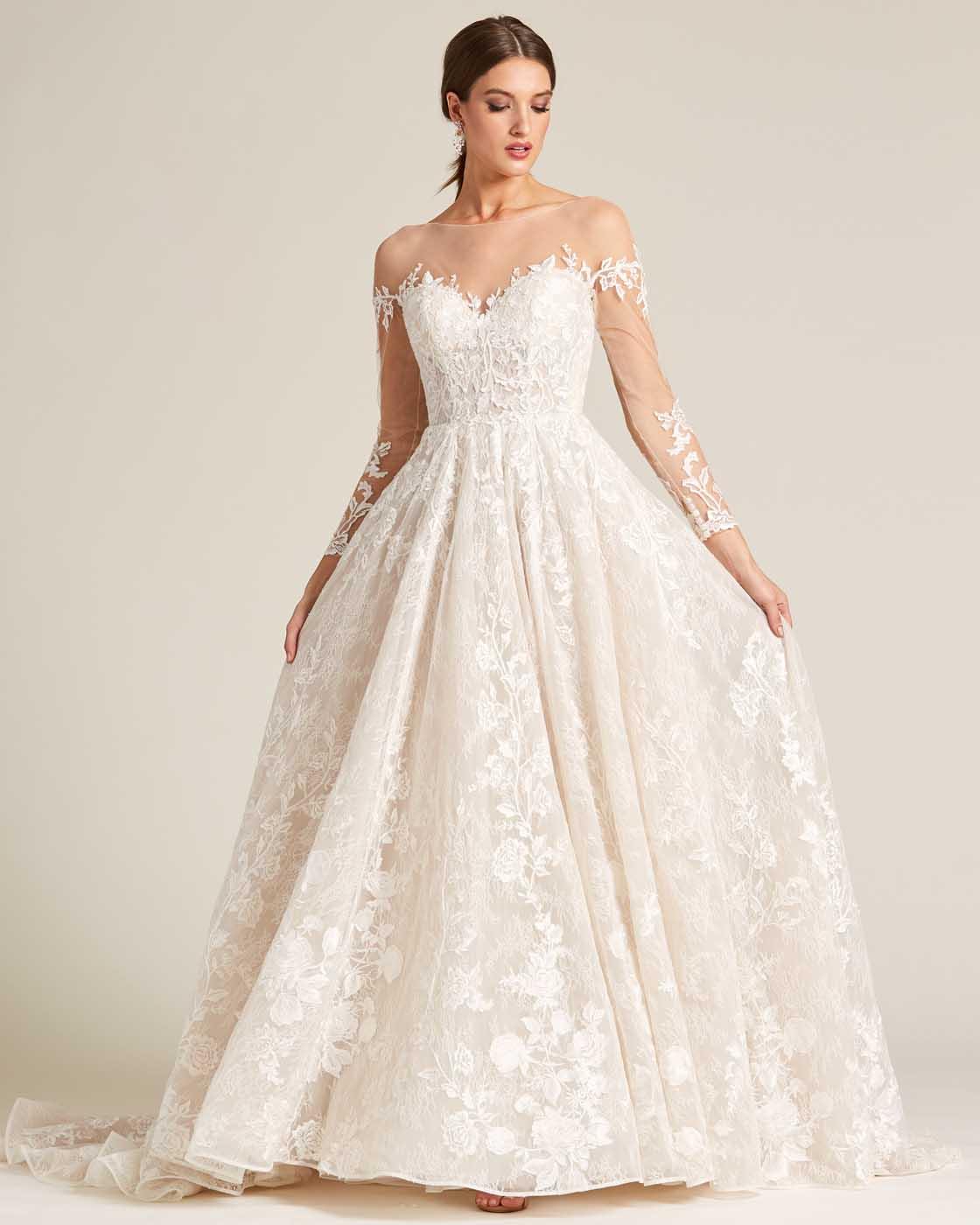 White Illusion Neckline Embroidered Sleeves Wedding Dress - Front