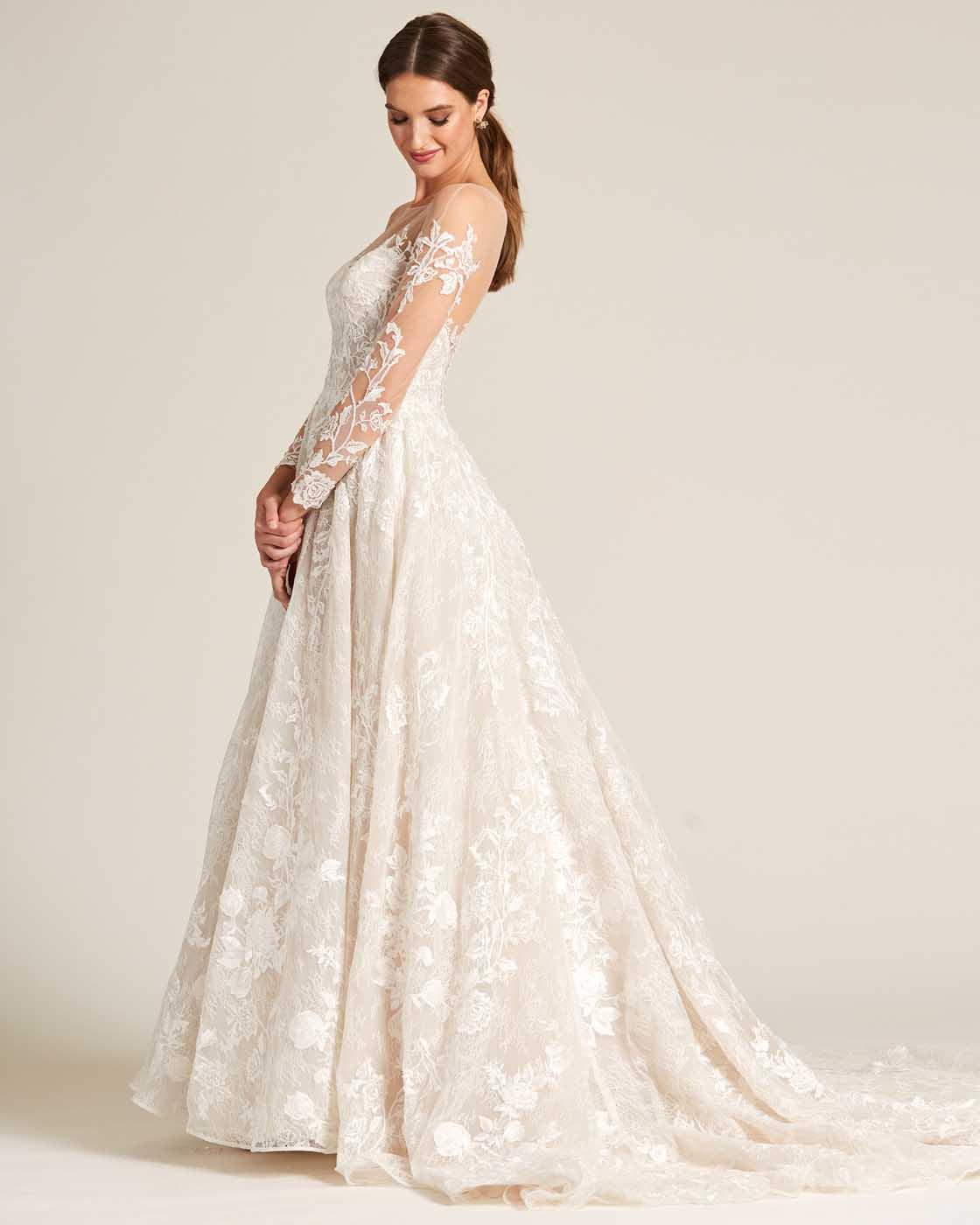 White Illusion Neckline Embroidered Sleeves Wedding Dress - Side