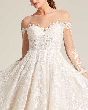 White Illusion Neckline Embroidered Sleeves Wedding Dress - Detail