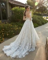 White Illusion Neckline Embroidered Sleeves Wedding Dress - Editorial Back