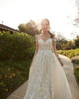 White Illusion Neckline Embroidered Sleeves Wedding Dress - Editorial