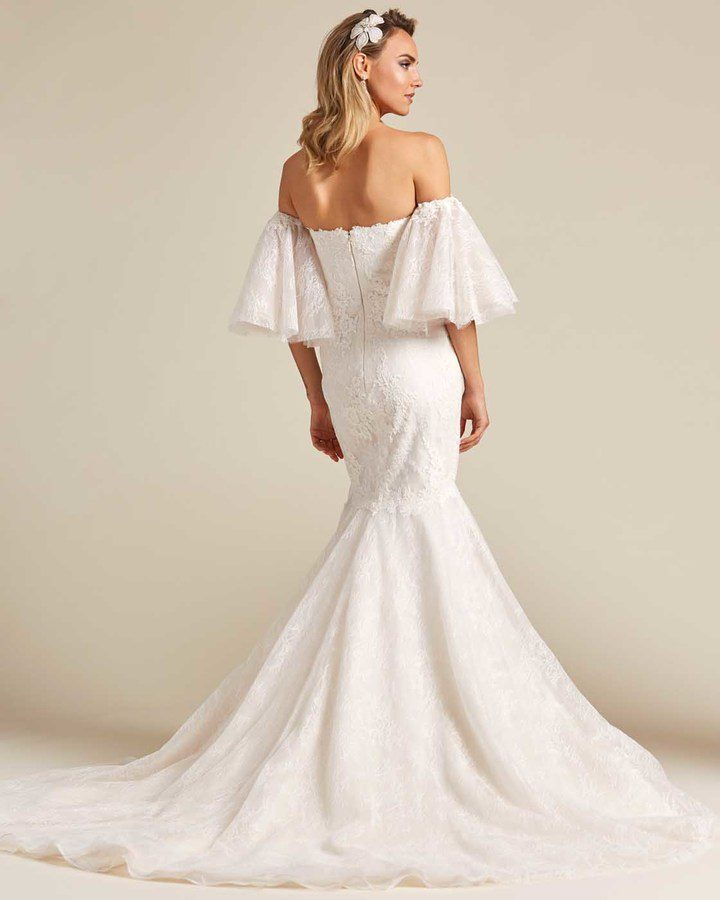 Off White Mermaid Tail Wedding Dress - Back