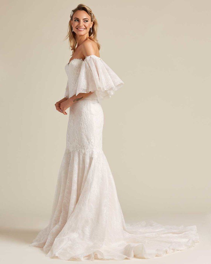 Off White Mermaid Tail Wedding Dress - Side