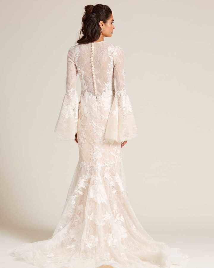 Champagne Bell Sleeves Embroidered Wedding Dress - Back