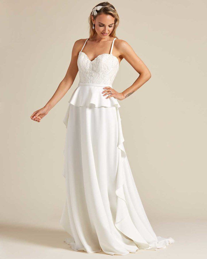White Ballerina Waist Wedding Dress - Front