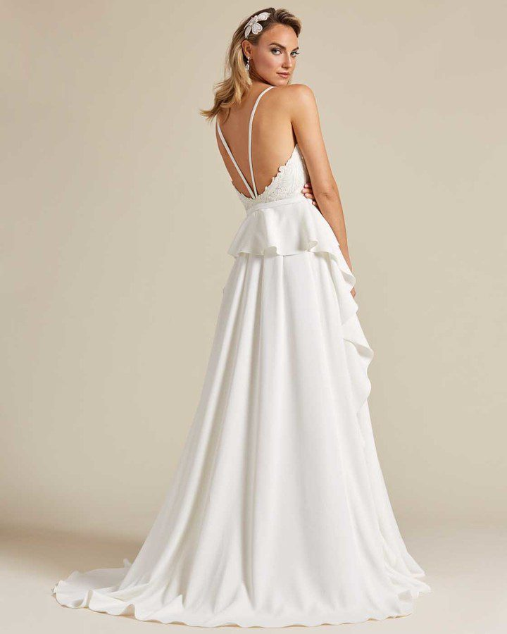 White Ballerina Waist Wedding Dress - Side