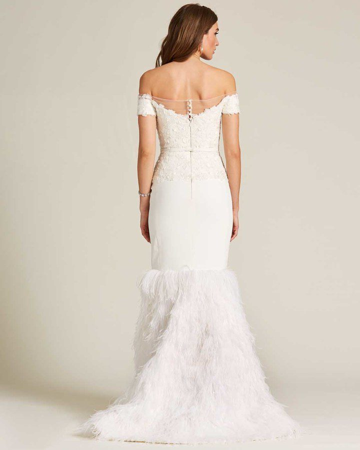 White Sweetheart Feather Skirt Wedding Gown - Back