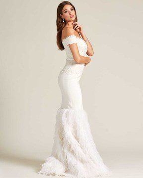 White Sweetheart Feather Skirt Wedding Gown - Side