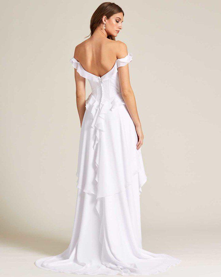 Classic Open Back Ruffle Style Wedding Dress - Back