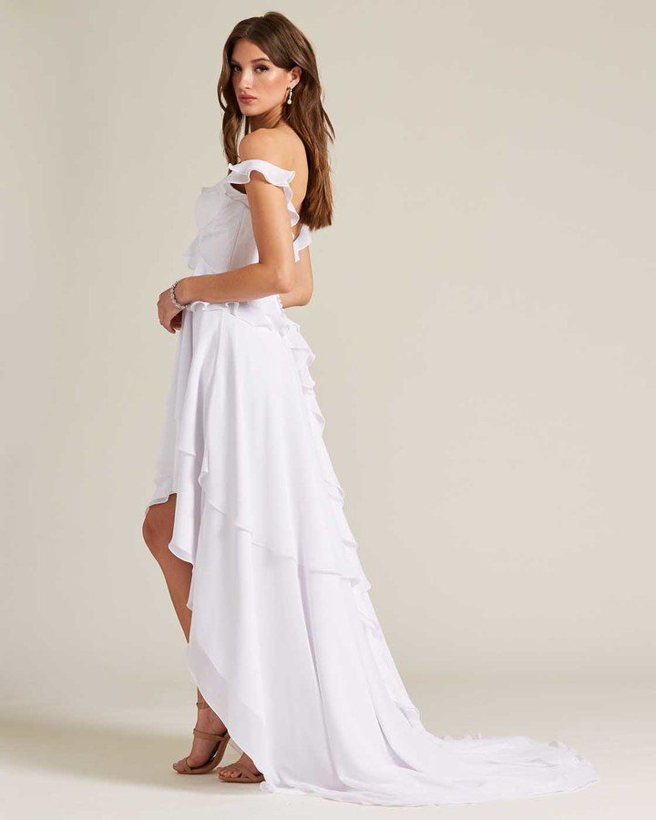 Classic Open Back Ruffle Style Wedding Dress - Side