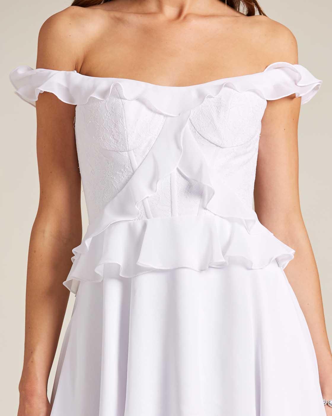 Classic Open Back Ruffle Style Wedding Dress - Detail